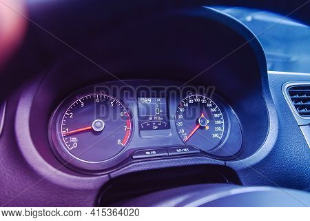 Novosibirsk, Russia - April 01 2021: Volkswagen Polo, Sign And Symbol On Car Dashboard. Car Speedome