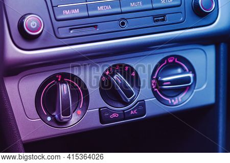 Novosibirsk, Russia - April 01 2021: Volkswagen Polo, Black  Detail With The Air Conditioning Button