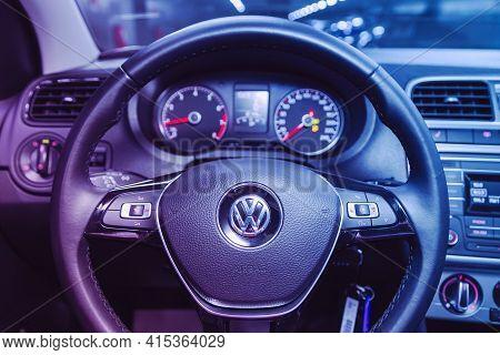 Novosibirsk, Russia - April 01 2021: Volkswagen Polo,  Auto Interior: Steering Wheel With  Logo    A