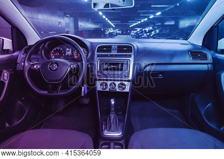 Novosibirsk, Russia - April 01 2021: Volkswagen Polo,  Steering Wheel, Shift Lever And Dashboard, Cl