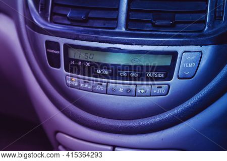 Novosibirsk, Russia - April 01 2021: Toyota Estima,  Black  Detail With The Air Conditioning Button