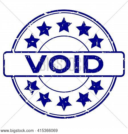 Grunge Blue Void Word With Star Icon Rubber Seal Stamp On White Background