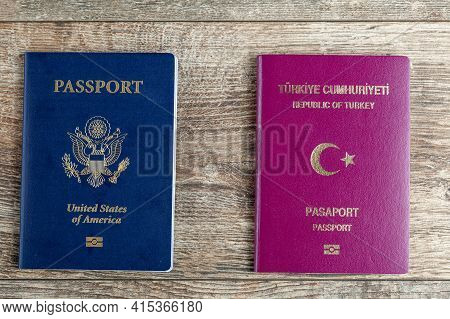 Image Of A Us Passport And A Turkish Passport Side By Side. Concept Image For Immigration To Usa, Pa