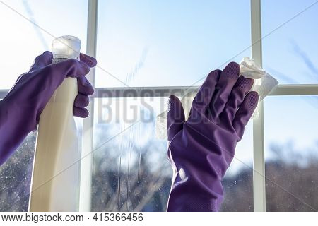 A Woman Wearing Purple Cleaning Gloves Is Holding A Window Cleaner Spray Bottle In One Hand And A Pi