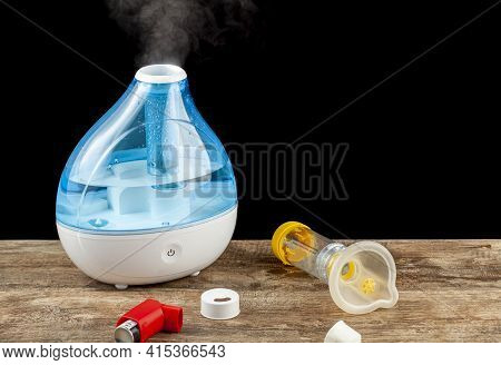 Asthma, Allergy Airway Problem, Pulmonary Disorders Concept With Ultrasonic Tabletop Humidifier Crea