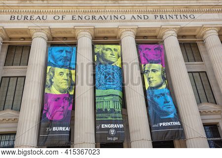 Washington D.c. Usa 11-02-2020: Image Showing The Exterior Of The Bureau Of Engraving And Printing,