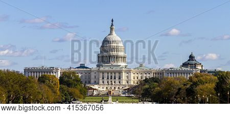 Panoramic Image Of The Us Capitol Building In Washington Dc As Seen From National Mall This Iconic P