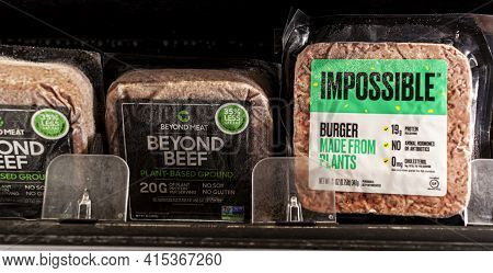 Germantown, Md, Usa 01-15-2021: Two Popular Vegan Meat Alternative Brands Impossible And Beyond Beef