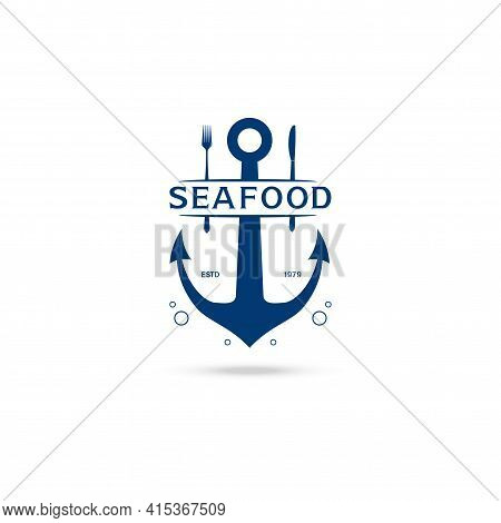 Anchor, Fork And Knife Vector Logo Design Template (icon, Sign, Symbol). Suitable For Seafood Restau
