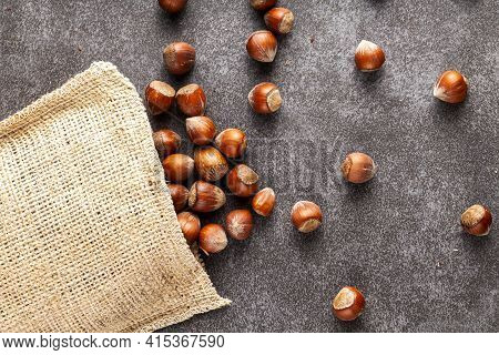 Closeup Flat Lay Image Of Hazelnuts In Shells Scattered From A Vintage Burlap Sack Onto Dark Backgro