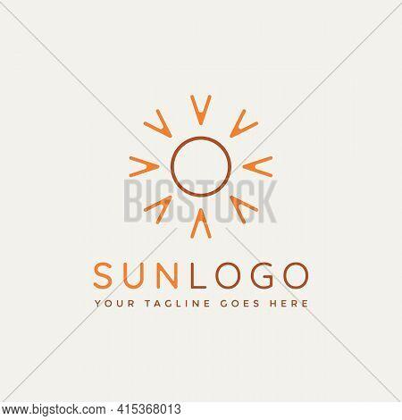 Sun Light Minimalist Line Art Logo Template Vector Illustration Design. Simple Modern Sunlight, Sunb