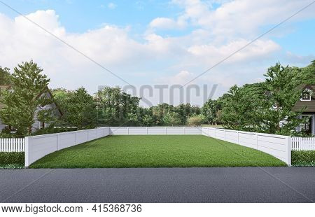 Vacant Land A Green Lawn With A White Fence Around In Front Of The Road The Background Is Natural 3d