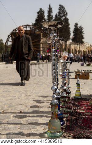 Hama, Syria 04-02-2010: Glass Hookah Appartuses On Display Of A Street Vendor In Touristic Destinati