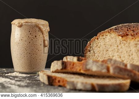 Close Up Side View Image Of A Freshly Baked Thick Crust Sourdough Artisan Bread With An Active Risin