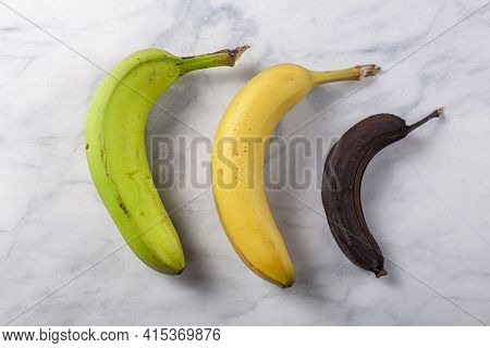 Process Of Ripening For Banana Showing A Fresh Green To Yellow Banana On Left, An Optimal Ripened Ye