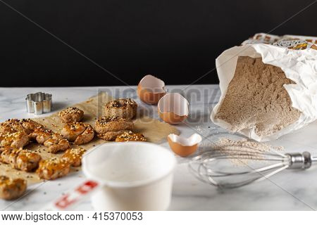 View Of Fresh Out Of Oven Handmade Cookies And Biscuits Made With Wholewheat Flour, Egg And Decorate