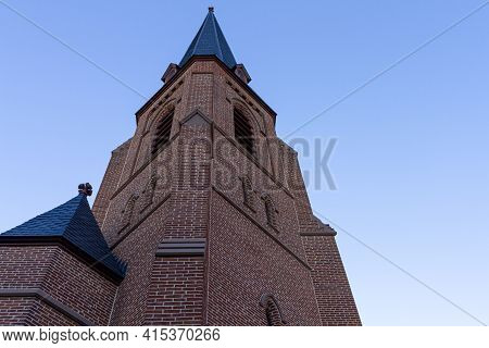 Bell Tower Of The 1742 Built Historic All Saints' Episcopal Church In Frederick Maryland, The Tall B