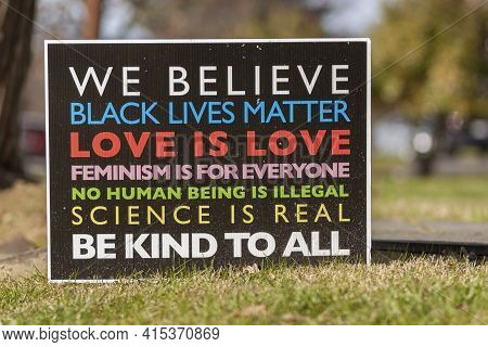 Rockville, Md, Usa 11/22/2020: A Manifesto On A Yard Sign With Elements Of Progressive Agenda Such A