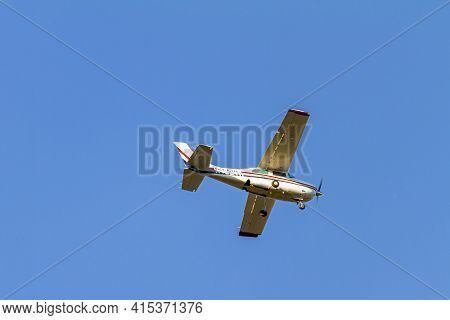 Frederick, Md, Usa 10/13/2020: A White 1977 Cessna 210m Fixed Wing Single Engine Private Propeller A