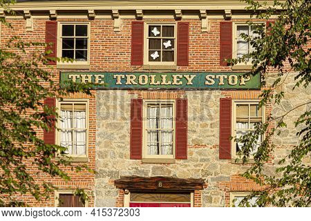 Ellicott City, Md, Usa 10/07/2020: The Trolley Stop Is A Famous Restaurant Which Is Located In A His