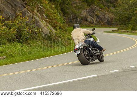 Shenandoah Valley, Va, Usa 09/27/2020: A Man Is Riding His Suzuki Boulevard M109r Motorcycle Through