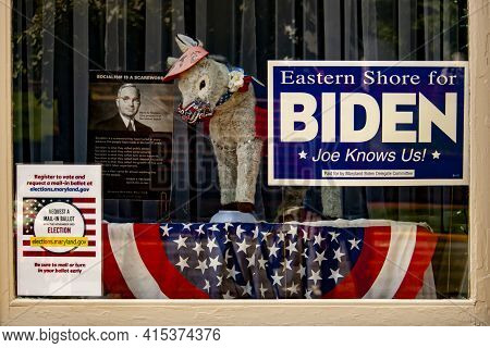 Chestertown, Md, Usa 08/30/2020: Window Display Of The  Democrat Party Campaign Office With Flags An