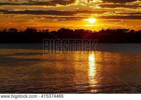 Sunset Sky Over Eastern Neck Island Wildlife Refuge On The Eastern Shore Of Chesapeake Bay, Maryland