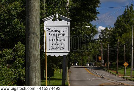 Chestertown, Md, Usa 08/30/2020: The Main Campus Of Washington College, A Private Liberal Arts Colle