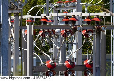 Image Of A Voltage Transformer Substation, The Facility Where  High Voltage Electric Current Carried
