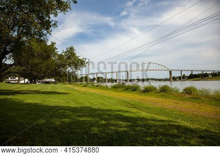 Wide Angle View Of The Chesapeake And Delaware Canal (c And D Canal) At The Back Creek Section In Ch
