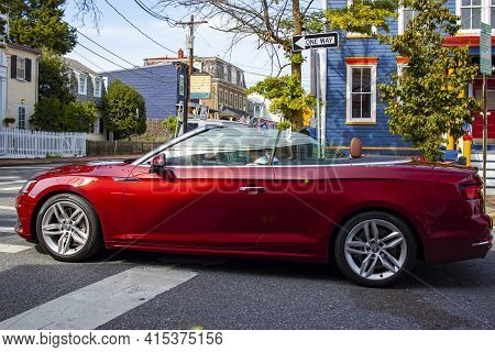 Annapolis, Md 08/21/2020: A Brand New Red Audi A5 Convertible Car Is At A  Cross Section In The Hist