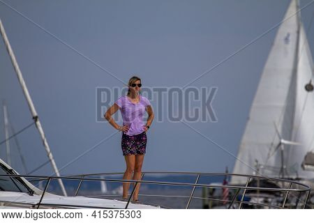 Annapolis, Md 08/21/2020: A Blonde, Attractive Woman In Her Forties Wearing A Lilac Blouse And Skirt