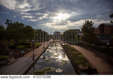 Frederick, Md, Usa 08/14/2020: An Afternoon View Of The Carroll Creek Park, Downtown Frederick. A Cr