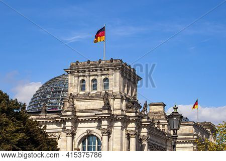 Close Up Isolated Image Of The Historical Landmark Building  Reichstag (imperial Diet) In Berlin. Im