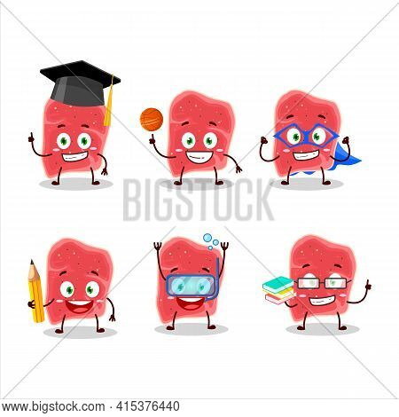 School Student Of Sirloin Cartoon Character With Various Expressions