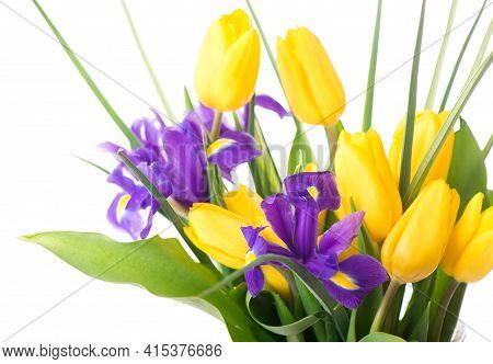 Yellow Tulips And Purple Irises In A Vase On A Beige Background