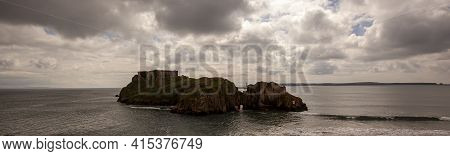 Panoramic Bird Eye View Of St Catherine's Island, A Tidal Island That Temporarily Connects To Tenby