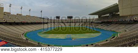 Barcelona, Spain 05/02/2010: Panorama Of Estadi Olimpic Lluis Companys, The Stadium Used During 1992