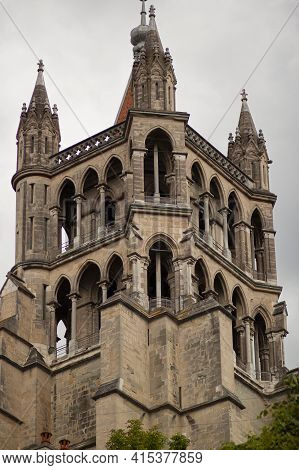 The Tower Building Of The Cathedral Of Notre Dame Of Lausanne From Distance. This Isolated Close Up