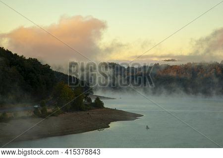A Scenic Mountain Lake In The Heart Of Appalachian Mountains. Image Was Taken At Sunrise When A Thic