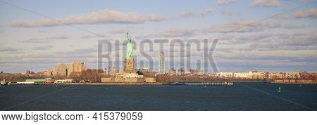 An Autumn Panorama Captured From Staten Island Ferry As It Crosses The Upper Bay Towards Manhattan.