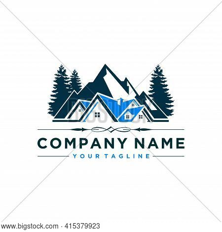 Real Estate House Mountain Logo Template, Isolated On White Background