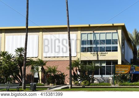 ANAHEIM, CALIFORNIA - 31 MAR 2021: The Anaheim Central Library building at the corner of Broadway and Harbor Boulevard.