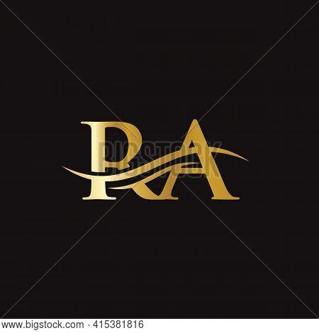 Ra Logo Design. Premium Letter Ra Logo Design With Water Wave Concept.