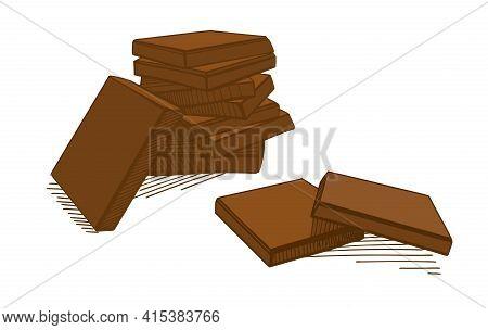 Hand-drawn Illustration, Chocolate. Pieces Of Milk Chocolate. A Pyramid Of Broken Chocolate Bars.