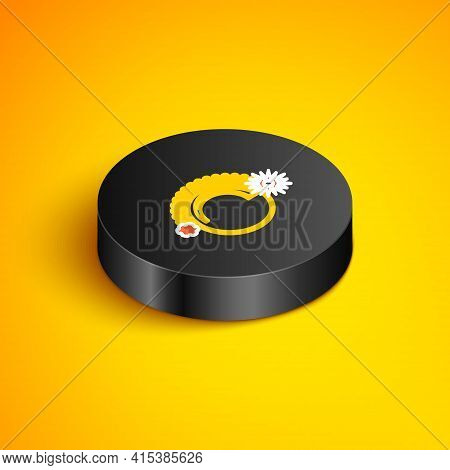 Isometric Line Thermostat Icon Isolated On Yellow Background. Temperature Control. Black Circle Butt