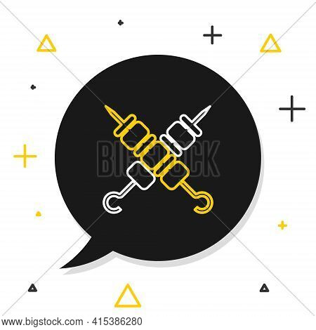 Line Crossed Grilled Shish Kebab On Skewers Stick Icon Isolated On White Background. Meat Kebab On S