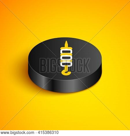 Isometric Line Grilled Shish Kebab On Skewer Stick Icon Isolated On Yellow Background. Meat Kebab On