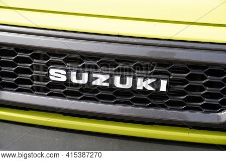 Bordeaux , Aquitaine France - 03 29 2021 : Suzuki Jimny Car Logo Sign Brand In Front Of Car Japanese