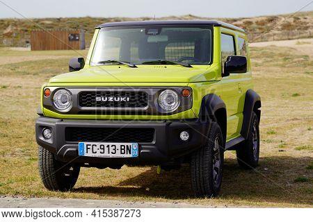 Bordeaux , Aquitaine France - 03 29 2021 : Suzuki Jimny Suv Compact 4x4 Car Parked Outdoors